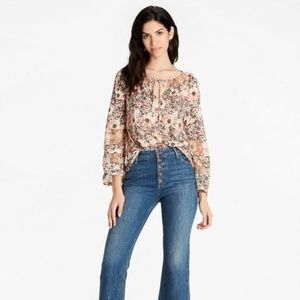 Lucky Brand Floral Woven Mix Peasant Top Blouse S